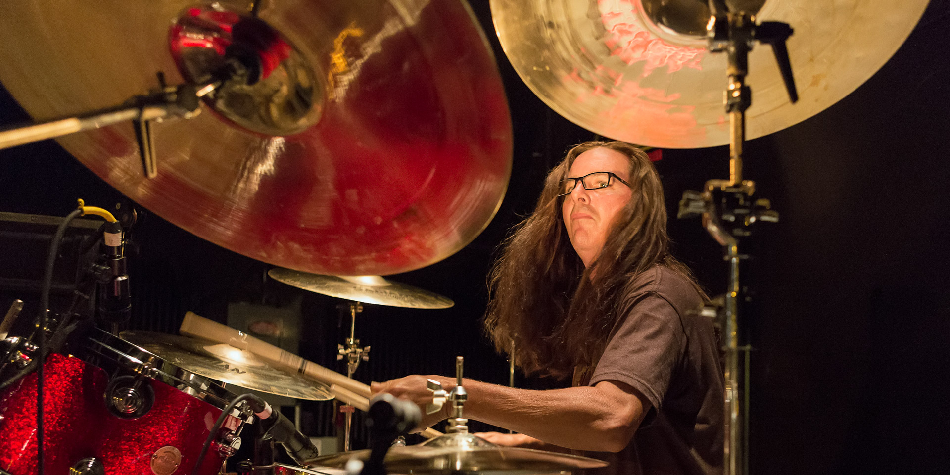 Drummer Jason Patterson during sound check.